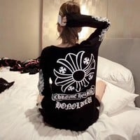 """Chrome Hearts"" Women Casual Personality Letter Cross Pattern Print Long Sleeve Sweater Tops"