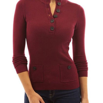 Button Design Two Pockets Long Sleeve Knitwear