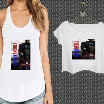 captain america new design For Woman Tank Top , Man Tank Top / Crop Shirt, Sexy Shirt,Cropped Shirt,Crop Tshirt Women,Crop Shirt Women S, M, L, XL, 2XL*NP*