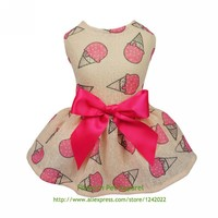 Fitwarm Sweet Ice Cream Pet Clothes for Dog Dresses Vest Shirts Sundress Pink Free Shipping XS Small Medium Large
