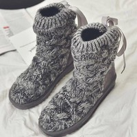 Winter knitting wool flat flat with bow tie snow boots [118133653529]