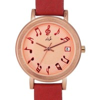 Vintage Melody Red Thin Strap Watch