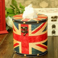 Retro British National Flag Style Round Tissue Paper Box/ Tissue Paper Holder made with PU Leather, Christmas Gift, Home Decor, London