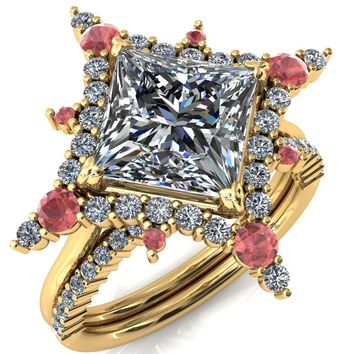 Thalim Princess/Square Moissanite 4-Point Star Padparadscha Sapphire and Diamond Halo Ring