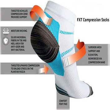 Men Women Adults Sports Foot White Compression Socks For Plantar Soft Fasciitis Heel Spurs Pain Workout Sock