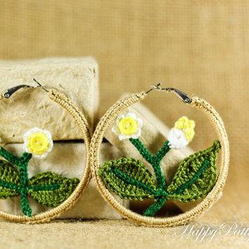 Crochet Flower Earrings  - Hoop Earrings Jewelry - Flower Themed Chunky Earrings - JE076