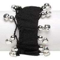 Black Silver Goth Punk Stretch Cuff Bracelet With Bells