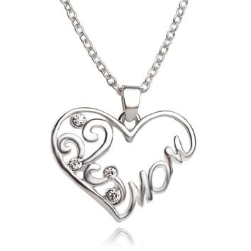 Jewelry New Arrival Gift Shiny Stylish Simple Design Heart Diamonds Rhinestone Accessory Necklace [6033950529]