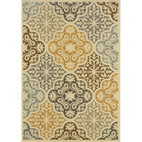 3'7 x 5'6 Indoor Outdoor Area Rug in Ivory Grey Yellow Blue Floral Damask