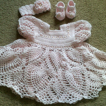 Crochet Pink Graceful Gown Heirloom Dress