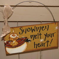 Rustic Hand Painted Country Snowman Sign