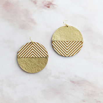 Large mismatched disc leather earrings- big gold circle earrings- modern geometric drops- ethnic earrings- tribal earrings- Aztec earrings