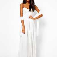 Forever Unique Applique Flower Bandeau Maxi Dress - Cream