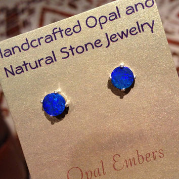 Australian Black Opal Silver Earrings 6.5mm studs