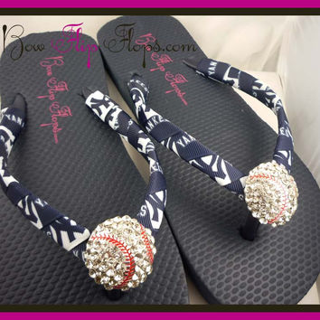 Yankees Ribbon Baseball Flip Flops with Bling Rhinestone New York Baseball