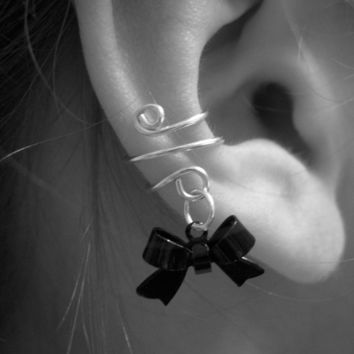 Ear Cuff, Dainty and Feminine Silver Cuff with Gun Metal Black Bow Charm, Black Tie Event
