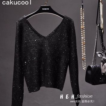 d1813 8ad30 Cakucool New Women Sequined Sweaters Thin Black Long Sleeve  V-ne quality ... 9b1867d498
