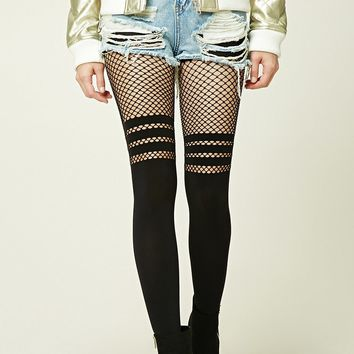 Striped Fishnet-Paneled Tights