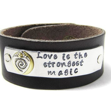Love Is The Strongest Magic Leather Cuff Bracelet by geekdecree
