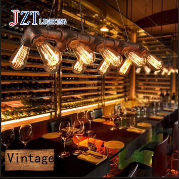 Z American Country Retro Industrial Steampunk Lamp Iron Pipe Ceiling Fixture Pendant Light Vintage Style Metal Art Lamp