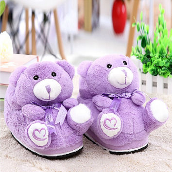 LCX Australia Lavender Bear plush slippers cute cartoon winter warm shoes 2106 new arrival free shipping ctx12