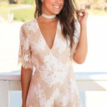 Ivory Lace Romper with Open Back