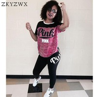 Two Piece Set Letter Print Fitness Tracksuit Women 2018 Summer Plus Size