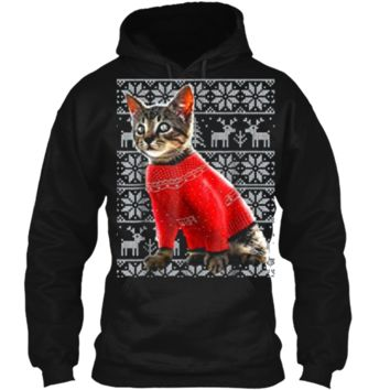Ugly Christmas Sweater Cat  Christmas Cat Gifts Women Pullover Hoodie 8 oz
