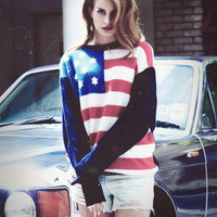 Vintage American Flag Sweater - Oversize - Americana - Lana Del Rey Sweater - USA