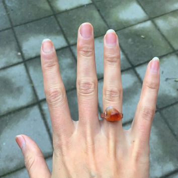 Red Carnelian Ring Mid-Size | Raw Carnelian Copper Ring | Electroformed Raw Stone Ring | Rough Gem Statement Ring