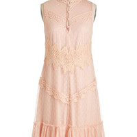 ModCloth Pastel, Vintage Inspired, 20s, French Mid-length Sleeveless Shift Fortress of Fashion Dress