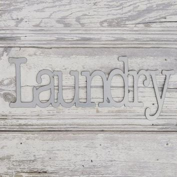 "Silver Galvanized ""Laundry"" Metal Sign"