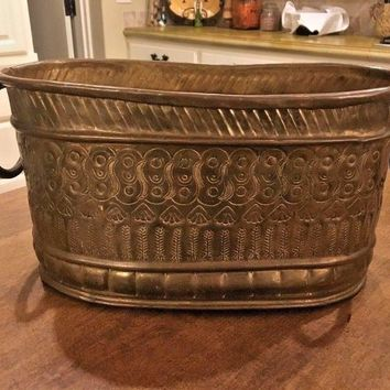Antique Brass Bowl Flower Pot Planter Marque deposee style Oval Heavy Thick