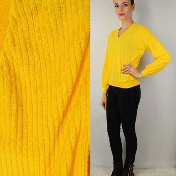 70s Terry Cloth V Neck Shirt Yellow Groovy Soft Grunge Hipster Retro Vintage Womens Clothing 70s 80s Size Small Fuzzy Ribbed