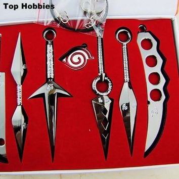 Anime Naruto Blade Keychain Kunai Sword Shuriken Knife Pendant Cosplay Prop 7PCS/set throwing Weapons naruto Sword Knife Black