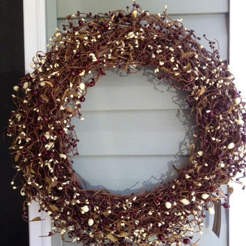 Wreath 20 Grapevine Burgundy and White Pip by BunchesOfBerries