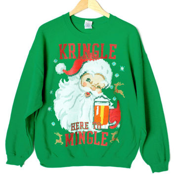 Kringle Here To Mingle Tacky Ugly Christmas Sweater Style Sweatshirt – XL