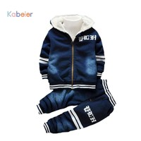 Kids Clothes For Baby Boys Jeans Denim Clothing Sets Winter Thick Warm Letter Print High Qulity 1- 4 Years