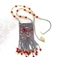 Fringed Beadwoven Long Necklace -- Winter Cardinals