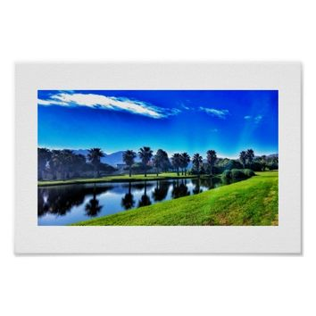 Rich Blue Green Landscape Palms Lake Golf Poster