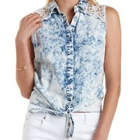 Chambray Button-Up Top by Charlotte Russe
