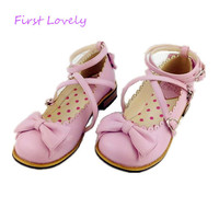 New LOLITA low round with cross straps bow cute girls princess tea party shoes women flats students shoes