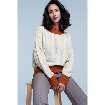 Beige cable knitted mock neck Sweater