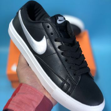 DCCK N627 Nike Wmns Blazer Low Leather Skateboard Shoes Black Sliver