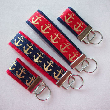 Key FOB / KeyChain / Wristlet  - metellic gold anchors - nay red - bridesmaid - friend gift - coworker - nautical - finger fob