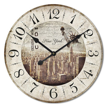 NEW YORK Large Wall Clock Mdf Wood 24x24 Inches
