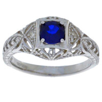 Blue Sapphire & Diamond Round Ring .925 Sterling Silver