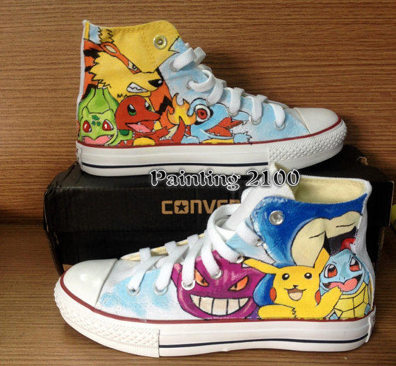 f6c624a8f3 Pokemon Converse Shoes-Pikachu Hand Paint Converse Sneakers