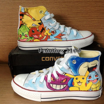 Pokemon Converse Shoes-Pikachu Hand Paint Converse Sneakers, Custom Converse,Special Christmas Gift,Birthday gift for men women