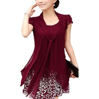 Womens Fashion Casual Chiffon Print Dress Plus Size Fake Two-pcs Blouse Dress